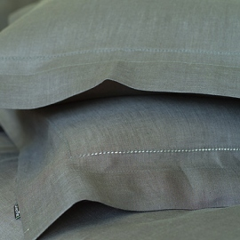 Grey Linen Deep Fitted Sheet Stone Washed Herringbone
