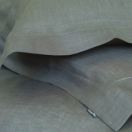 Pillow Case Grey Linen Hemstitch