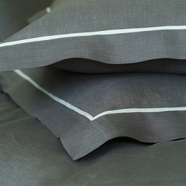 Pillow Case Grey Silver Linen Piping