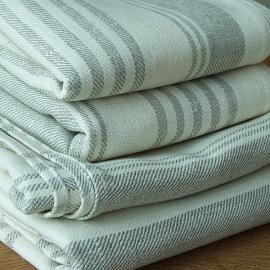 Set of 4 Bath Towels Cream Huckaback Linen Linum