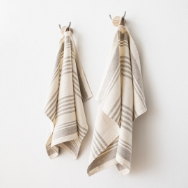 Set of 2 Cream Linen Hand and Guest Towels Linum