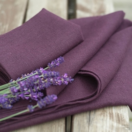 Aubergine Huckaback Linen Bath Towel Lara