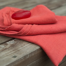 Orange Huckaback Linen Bath Towel Lara