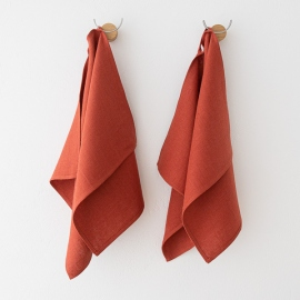 Set of 2 Orange Linen Hand and Guest Towels Lara