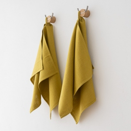 Set of 2 Citrine Linen Hand and Guest Towels Lara