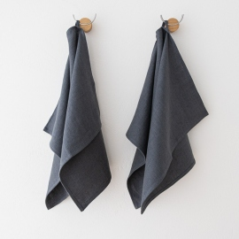 Set of 2 Teal Linen Hand and Guest Towels Lara