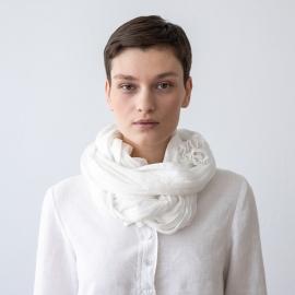 White Linen Summer Scarf Garza