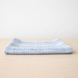 Bath Towel Blue White Linen Multistripe