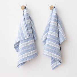 Set of 2 Hand and Guest Towels Blue White Linen Multistripe
