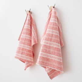 Set of 2 Hand and Guest Towels Red White Linen Multistripe