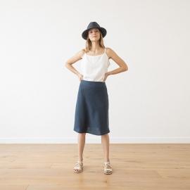 Indigo Linen Skirt Alma