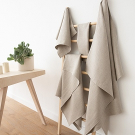 Silver Linen Bath Towels Set Lara