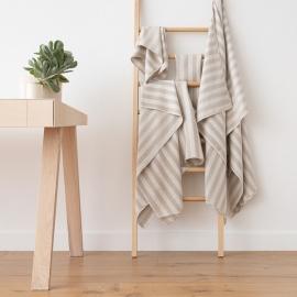 Natural Striped Linen Bath Towels Set Lucas