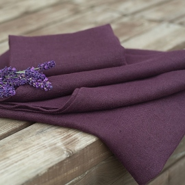 Aubergine Linen Bath Towels Set Lara