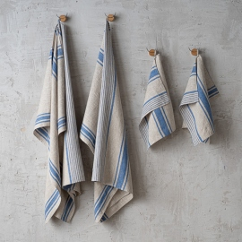 Natural Blue Striped Linen Towels Set Provence