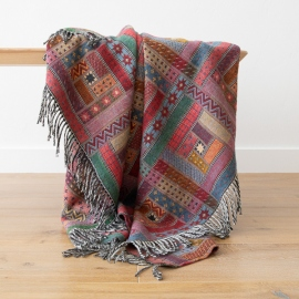 Red Green Merino Wool Throw Marta