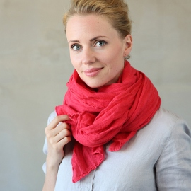 Red Linen Summer Scarf Garza