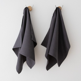 Set of 2 Grey Linen Hand Towels Lara