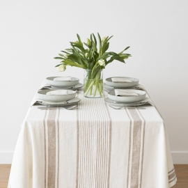 Beige Linen Tablecloth Tuscany