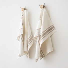 Set of 2 Beige Linen Hand and Guest Towels Tuscany