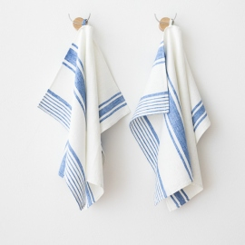Set of 2 Blue Linen Hand and Towels Tuscany