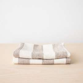 Set of 2 Beige Linen Hand and Guest Towels Philippe