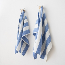 Set of 2 Blue Linen Hand and Guest Towels Philippe