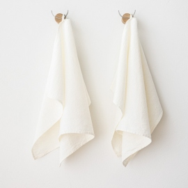 Set of 2 Hand and Guest Towels Off Linen Rhomb Damask