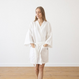White Linen Bath Robe Alma