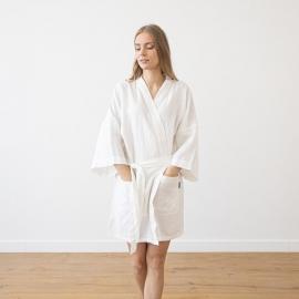 White Linen Bath Robe Alma