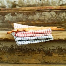 Set of 2 White Blue Gingham Linen Kitchen Towels