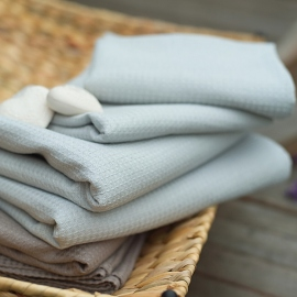 Silver Linen Bath Towel Wafer