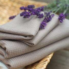 Taupe Linen Bath Towel Wafer