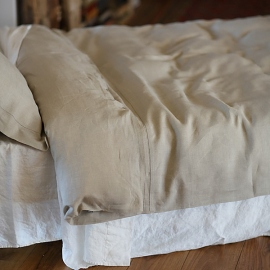 Natural Hemstitched Linen Duvet