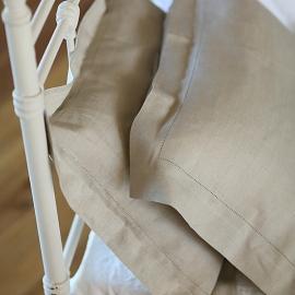 Natural Hemstitched Linen Pillow Case