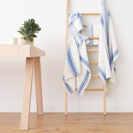 Blue Linen Bath Towels Set Tuscany