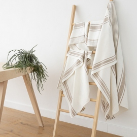 Beige Linen Bath Towels Set Tuscany