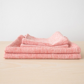 Red Linen Bath Towels Set Francesca