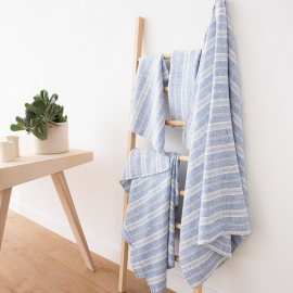 Blue Linen Bath Towels Set Multistripe