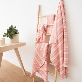 Red Linen Bath Towels Set Multistripe
