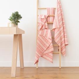 Red Linen Bath Towels Set Multistripe