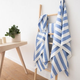 Blue Linen Bath Towels Set Philippe