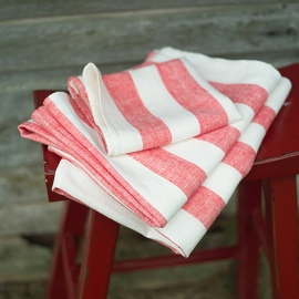 Red Linen Bath Towels Set Philippe