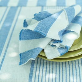 Napkin Blue Linen Philippe With Fringes