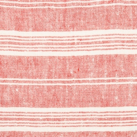 Fabric Prewashed Red Multi Striped Linen