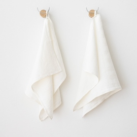 Set of 2 Off White Linen Guest Towels Lara