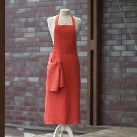Apron Orange  Linen Lara