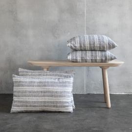 Linen Cushion Cover Black White Multistripe