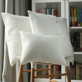 White Linen Cushion  Case Lara