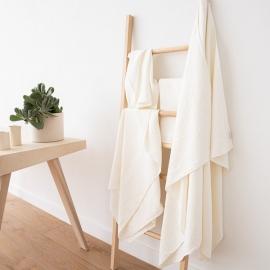 Off White Linen Bath Towel Set Rhomb Damask